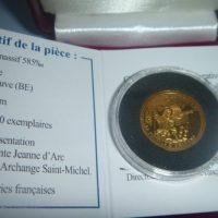 médaille or 14 carats 2010 Jeanne d'arc et archange St Michel